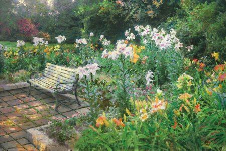 final-painting-by-Thomas Kinkade-art-bench-bible-lilies